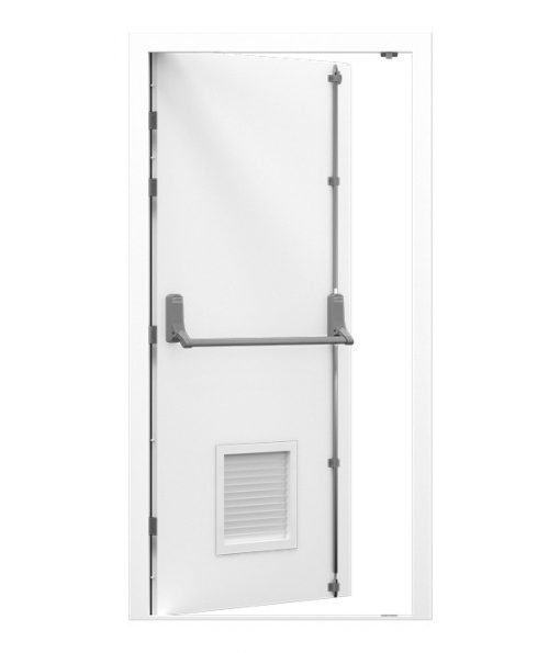 Security Fire Exit Door with Louvre Panel fitted