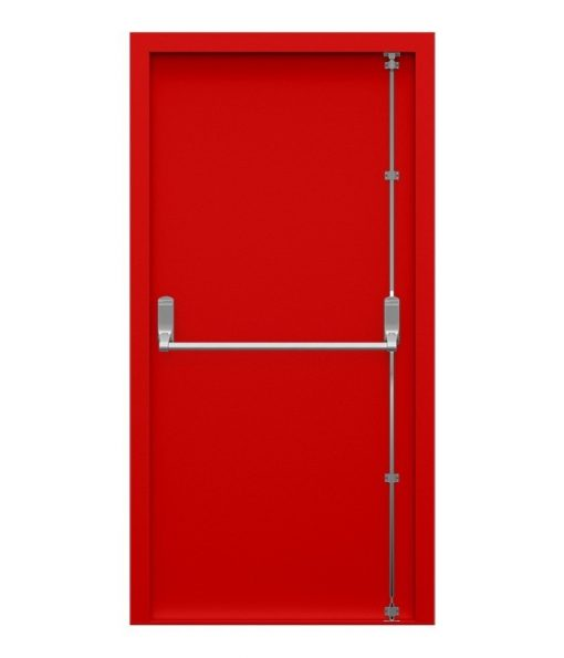 Traffic Red Security Fire Exit Door fitted with Exidor 294 adjustable panic bar