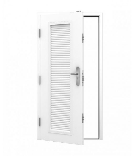 steel personnel door with louvre panel
