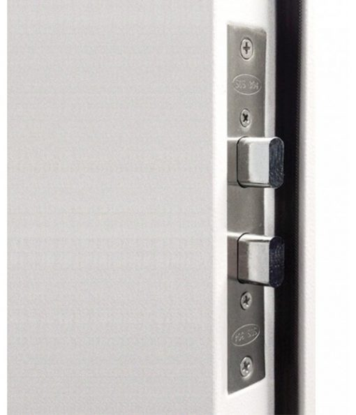 Security door multi point locking system close up of side lock