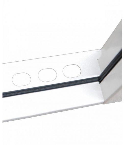 Steel security door threshold showing 3 shoot bolt holes