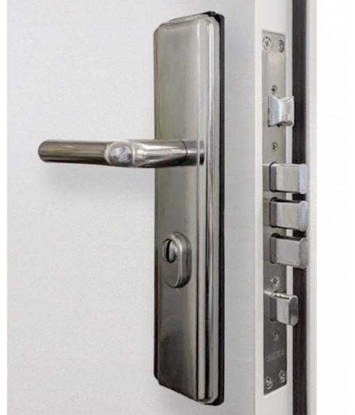 Steel security door lock and handle close up