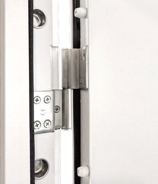 Steel door hinge and security dog bolts