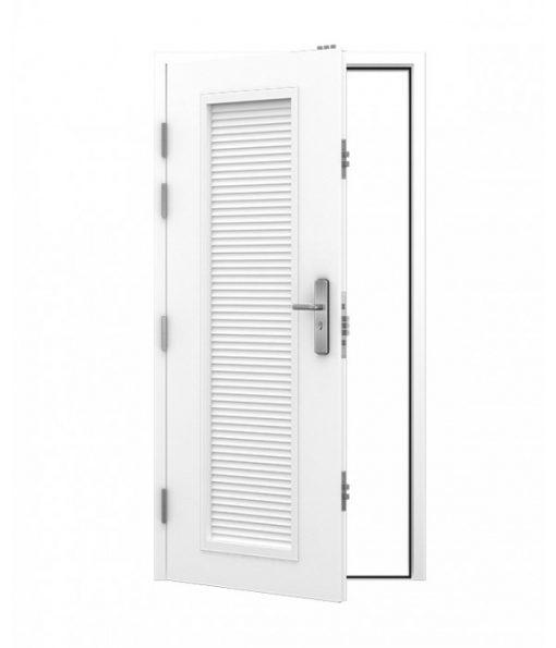 White security steel door with full louvre panel