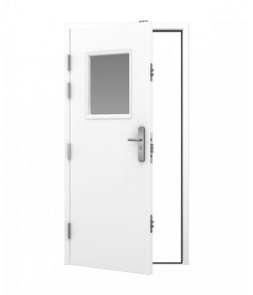 White security steel door with square window