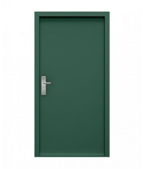 Juniper green steel door, inside view, closed