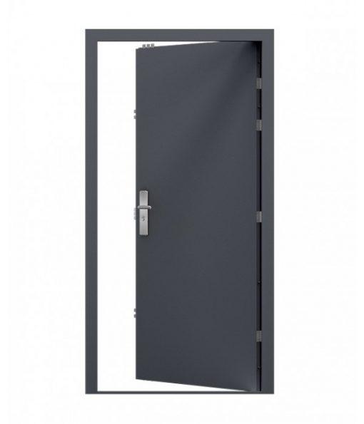 Anthracite grey security steel door, opening inwards