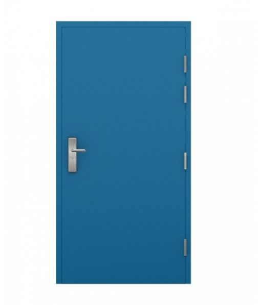 Blue powder coated steel door, closed, outside view