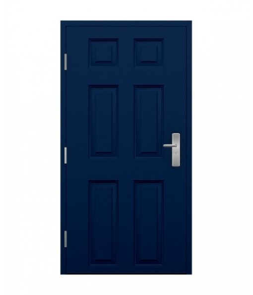 blue 6 panel steel door