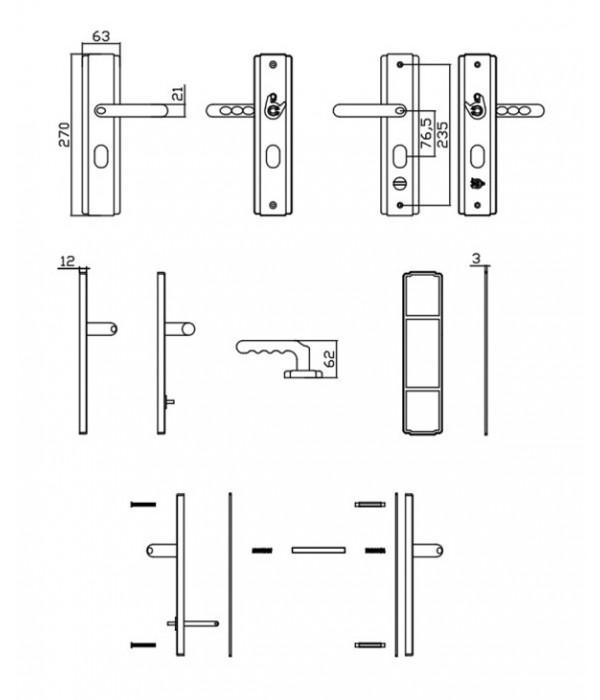 standard hooply lever handle set  5586