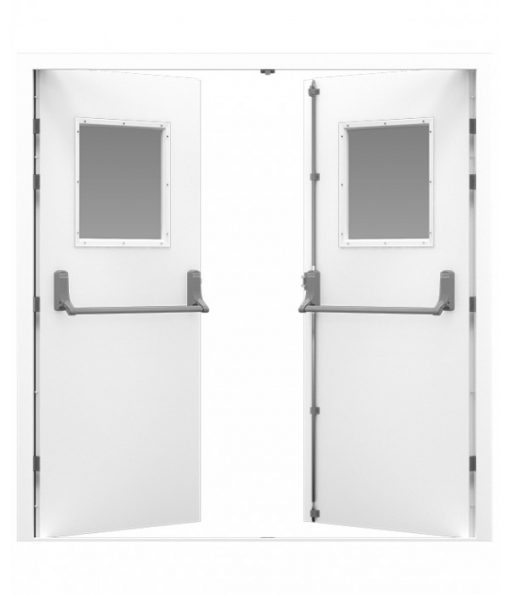 White Double Fire Exit Door with square windows