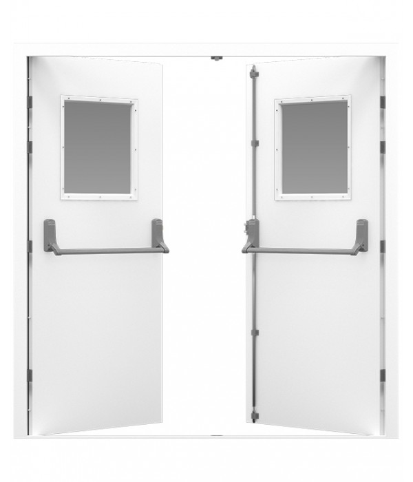 White Double Fire Exit Door with square windows  sc 1 st  Latham\u0027s Steel Doors & Double Fire Exit Door | Latham\u0027s Steel Doors