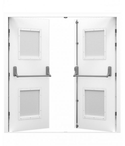 White Steel Fire Exit Double Door with louvres