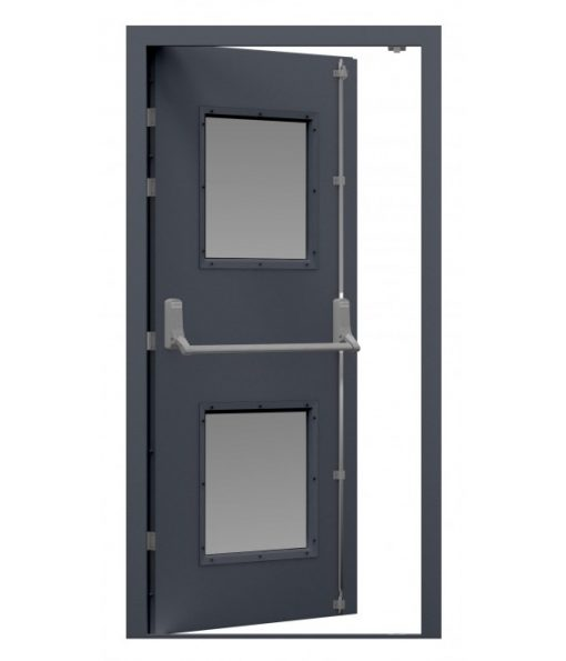 Anthracite Grey Steel Fire Exit Door with fitted panic bar