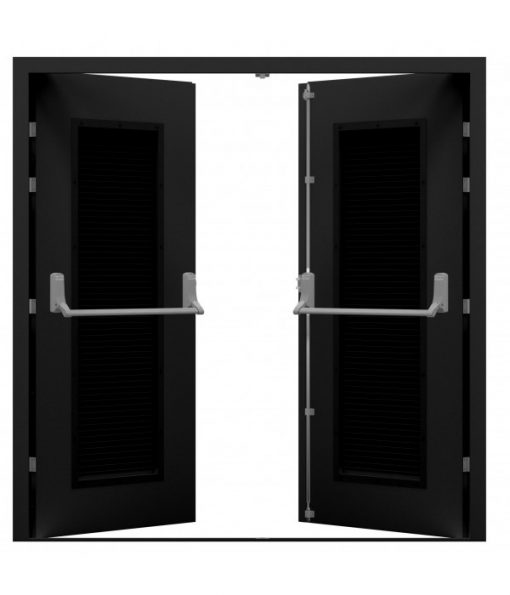 Jet Black Double Fire Exit Door with Louvres