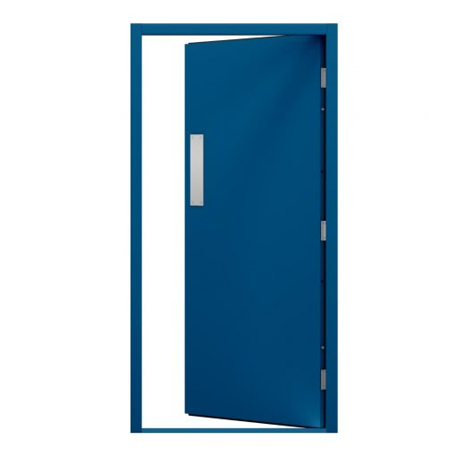 blank blue steel door with a push plate