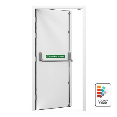 white security fire exit door with push bar to open sticker