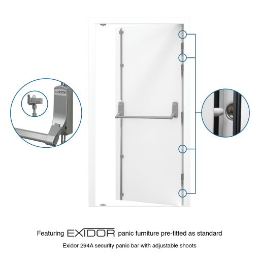 USP Image for Security Fire Exit Door with Exidor 294 2 point Panic Bar