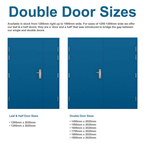 double steel door & leaf and half steel door sizes