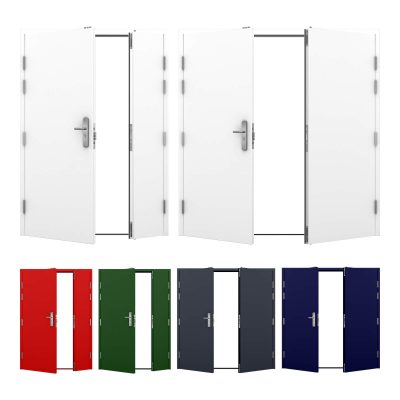 Range of double steel doors showing array of colours available