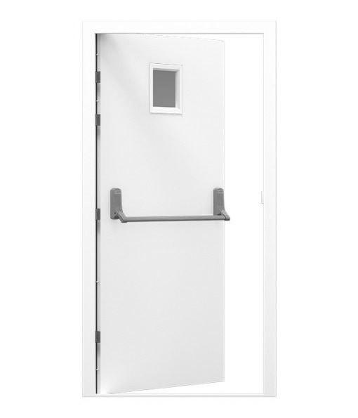 White Fire Exit Door with small window