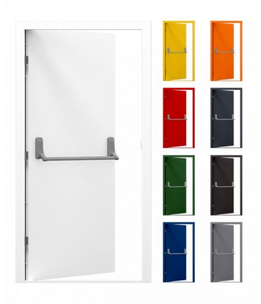 Fire Exit Door manufactured from steel, with Exidor panic hardware