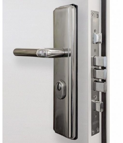 Heavy Duty Panelled Security Steel Door locks and handle close up