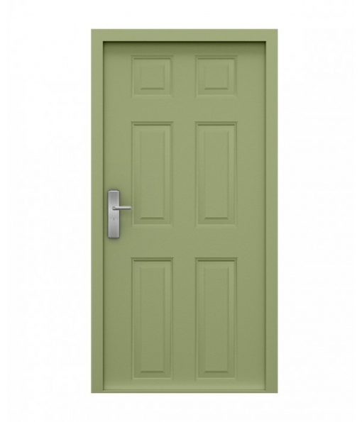 Light green panelled security door