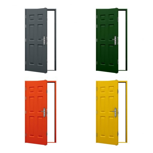 four examples of coloured security panelled steel doors