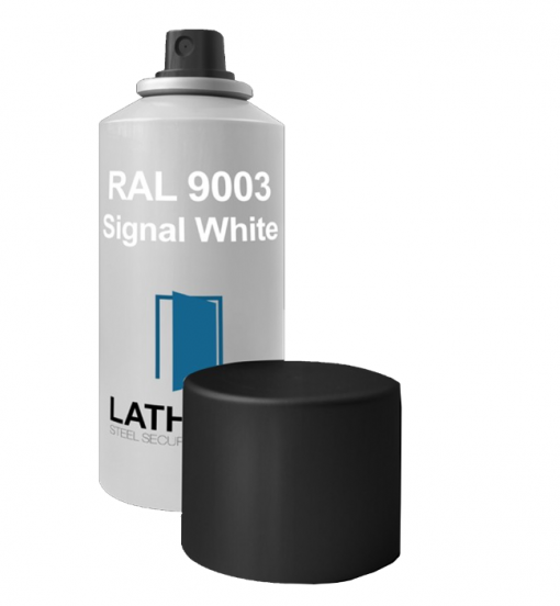 Signal white touch up spray for Latham's Steel Doors