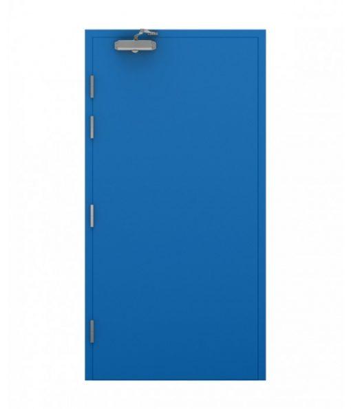 Sky Blue Blank Steel Door with door closer fitted