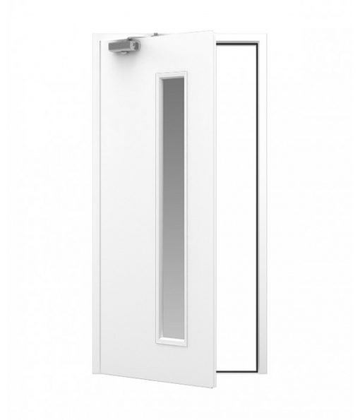 White Blank Steel Door with 225x1524 Vision Panel
