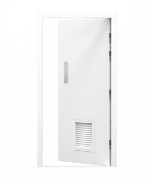 Louvred Blank Steel Door with Push Plate
