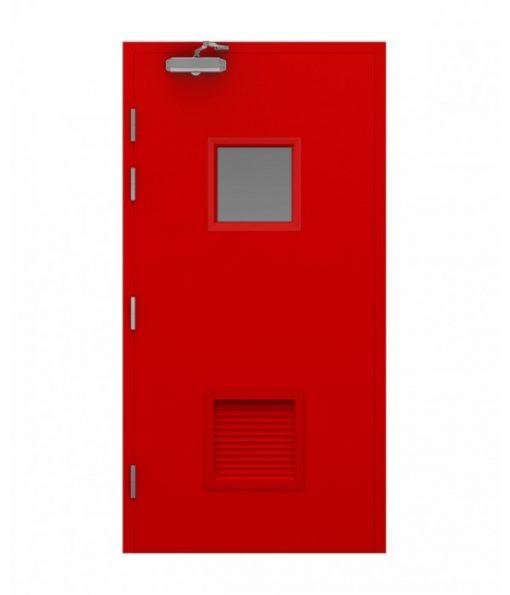 Red Blank Steel Door with Vision, Louvre and door closer