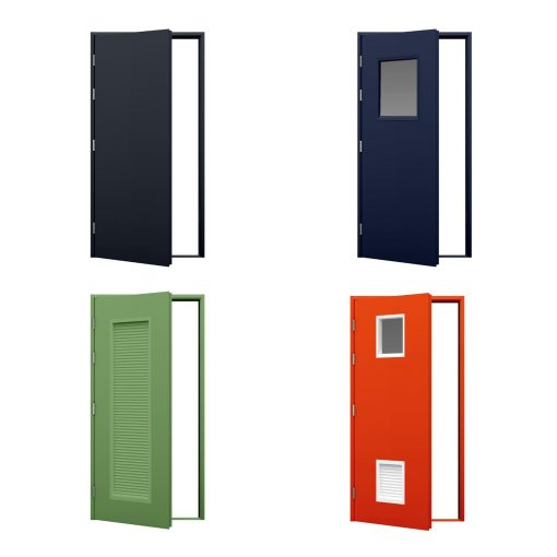 four examples of blank doors in different colours
