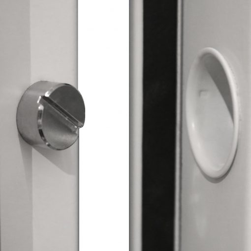close up of the dog bolt cap and dog bolt in a door frame