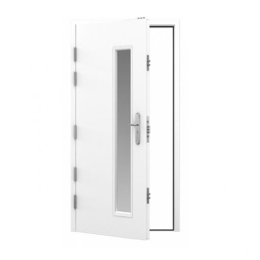 White high security steel door with long window