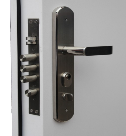 High security lock case installed into a door with a handle