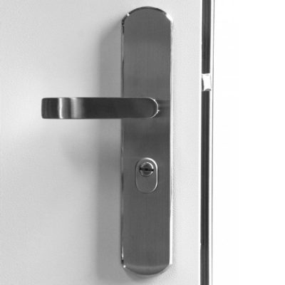 Stainless Steel Hooply Handle Set #S0301, LH Hinge, Inside View
