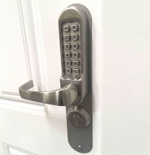 conversion kit installed onto a code lock fitted to a door