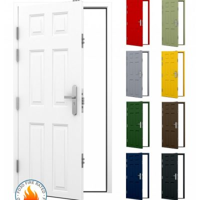 Panelled FD30 Security Steel Fire Door