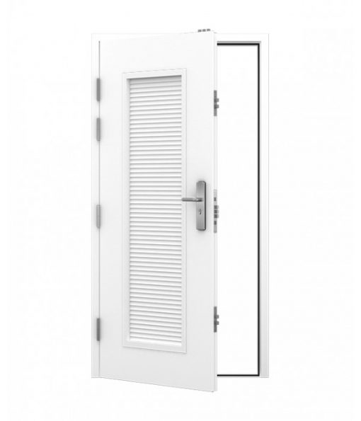 Steel Security Louvred Door in white with multi point locking system