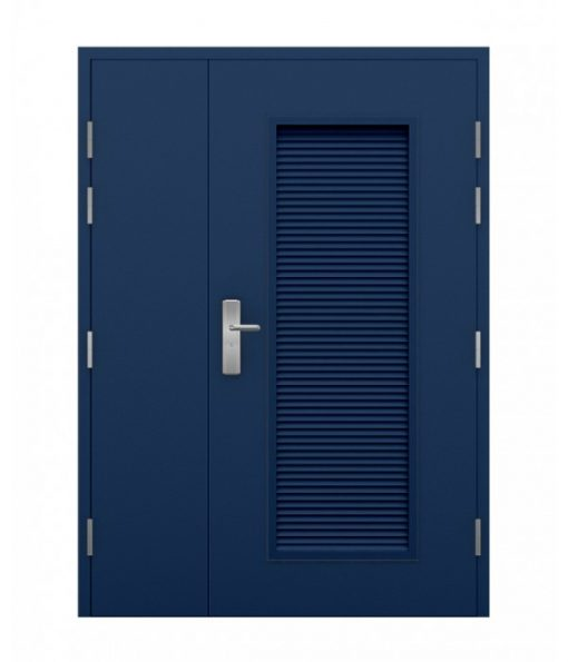 Blue Steel Louvred Double Door (Leaf and Half)