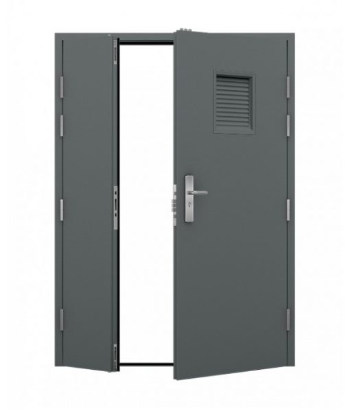 Grey Louvred Steel Door (Leaf and Half)