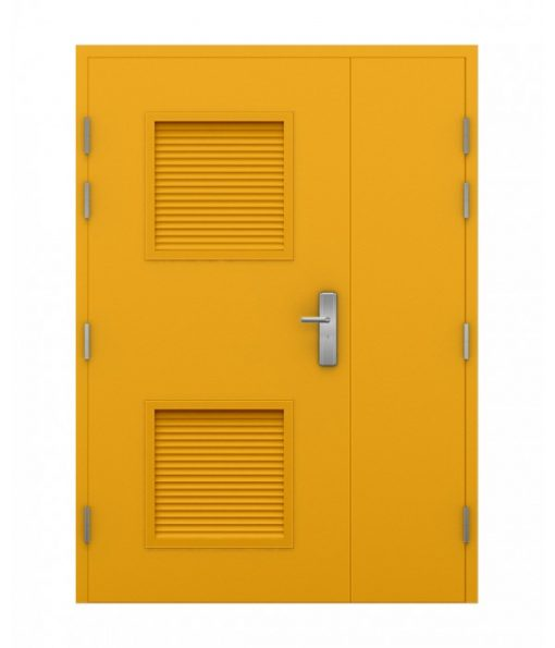 Canary Yellow Steel Louvred Double Door (Leaf and Half)