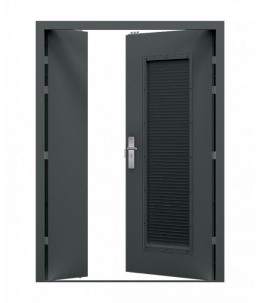 Anthracite Grey Louvred Steel Double Door (Leaf and Half)