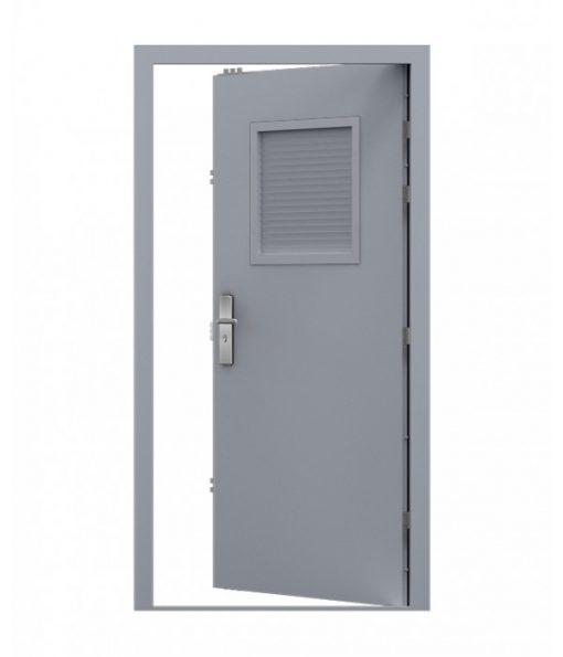 Window Grey Steel Louvred Door with louvred top panel