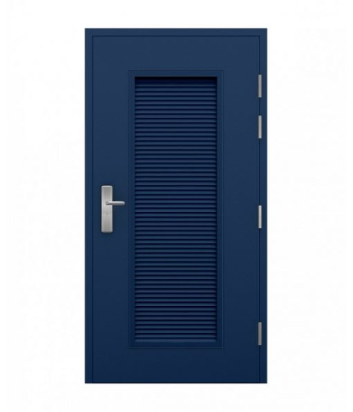 Blue Security Steel Louvred Door - closed, outside view