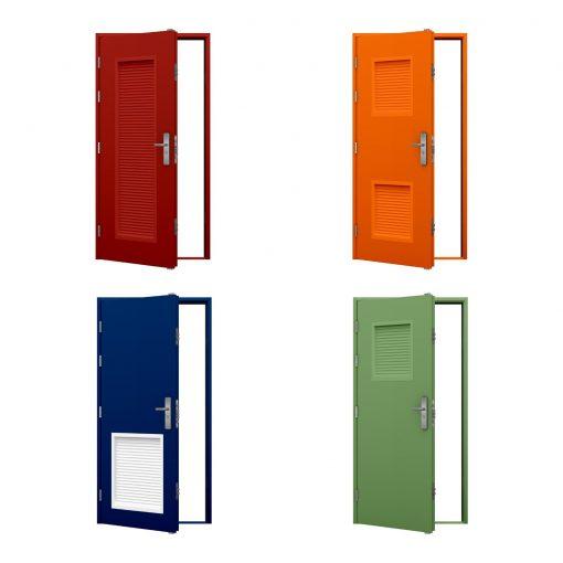 foure coloured louvred steel door examples