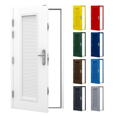 Louvred steel security door with full louvre panel